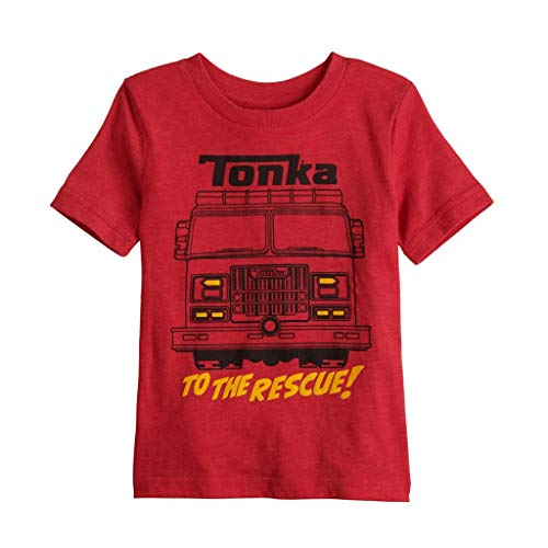 Toddler Boy Jumping Beans Tonka Fire Truck Rescue Short Sleeve Graphic Tee, Red (2T)