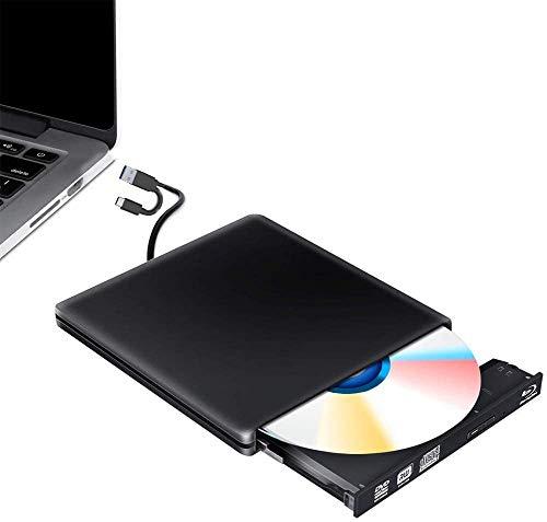 External Blu Ray Burner Writer DVD Drive 3D, USB 3.0 Type C Bluray Disc Burner Reader Burner Player Writer BD CD DVD RW ROM for Mac OS iMac PC Windows 7 8 10(Black)
