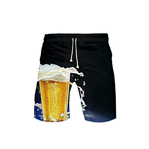 NIEWEI-YI Herren Badehose Sommer Badeshorts 3D Print Grafik Strand Surf Board Shorts Bier,M