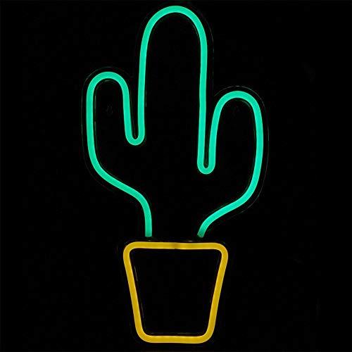 Letreros de neón LED, lámpara Decorativa LED de acrílico en Forma de Cactus con Fuente de alimentación USB, Luces de neón para Sala de Estar, Dormitorio, Hotel, Bar, Restaurante, Fiestas