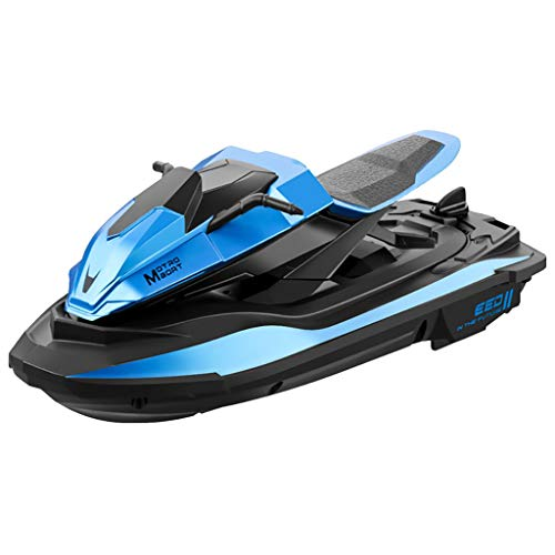 PBTRM RC Velocidad Barco Juguete Regalo, 2,4 GHz Dos Motor Dos Velocidades Barco Control Remoto Juguetes Regalo Alta Velocidad para Niños, Niñas,Azul