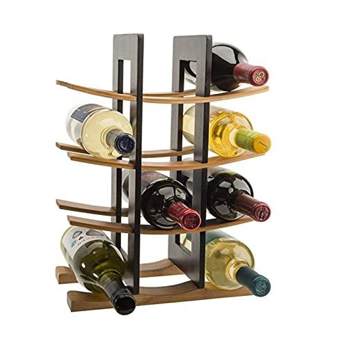 Botellero de Madera,Botellero Estante del vino decoración del hogar encimera Bar Cocina Comedor Almacenamiento creativo vino titular de la botella de vino del estante sitio ( Color : Dark Brown )