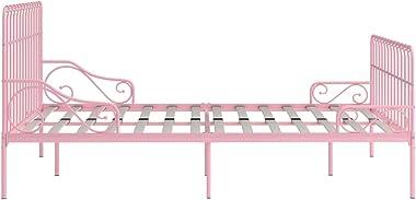 LIUBIAONET Lits & Cadres de lit Cadre de lit et sommier à Lattes Rose Métal 200 x 200 cm