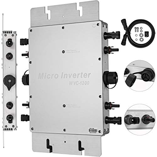 Mophorn 1200W MPPT Waterproof Solar Grid Tie Inverter DC to AC 110V Micro Inverter (1200W 110V)