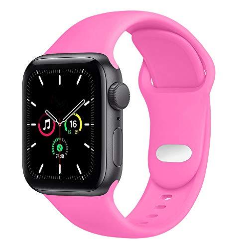DYH&PW Correa de silicona compatible con Apple Watch Band 38 mm, 40 mm, 42 mm, 44 mm, correa de deporte, compatible con iWatch serie 3 4 5 6, Barbie Rosa, 42 o 44 mm M, L