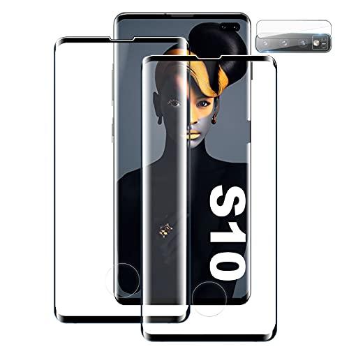 Verre Trempé pour Samsung Galaxy S10, [2 Pièces] [Dureté 9H][Ultra Claire][Protecteur de lentille][Compatible avec Le capteur d'empreinte Digitale] Protection écran pour Samsung S10