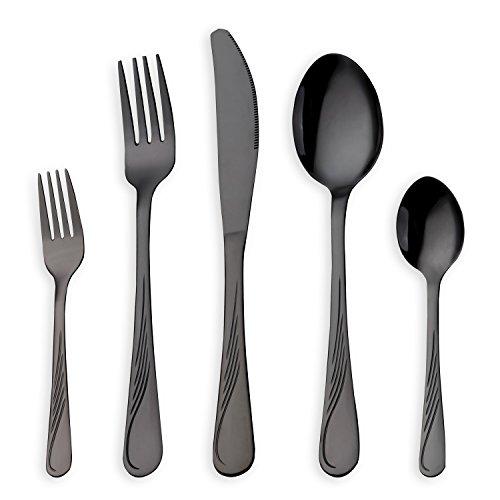 HOMQUEN 30 Stück Edelstahl Besteck Set, schwarz Besteck Set, Messer Gabeln Löffel Set für 6 Personen (schwarz, 6 Sets)