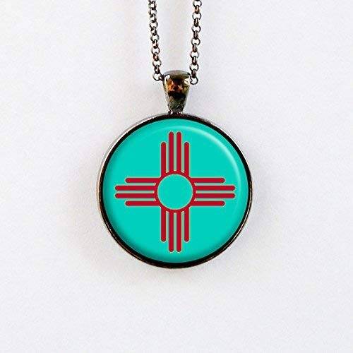 Zia Necklace - Turquoise and Red Sun Symbol Pendant