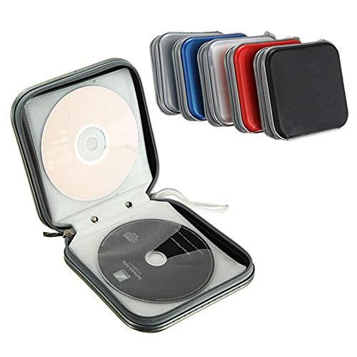 Turbobm Porte-CD, Portable 40 CD/DVD Disque De Stockage Portefeuille Organisateur Sac Boîte avec Fermeture Éclair pour Voiture, Maison, Bureau et Voyage