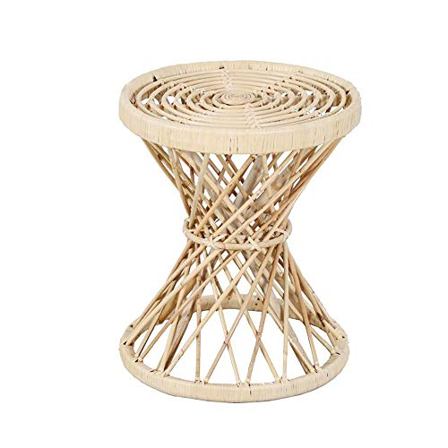 Jcnfa-side table Rattan Side Table, Ultra Narrow Side Table, Natural,High Coffee Side Table (Color : Natural, Size : 15.74 * 15.74 * 18.89in)