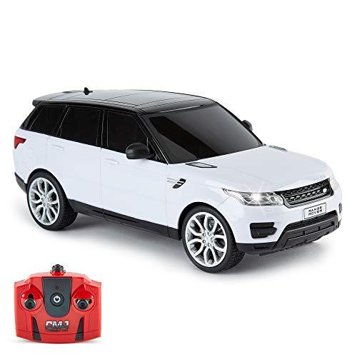 CMJ RC Cars ™ Range Rover Sport Coche de control remoto con licencia oficial Coche 1:18 Escala Luces de trabajo 2.4Ghz Blanco