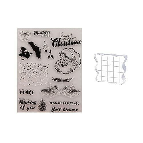 GIVBRO Navidad Sello de Silicona Transparente y Bloque acrílico para Plantilla de Grabado en Relieve de álbum de Recortes Herramienta de Manualidades (#F)