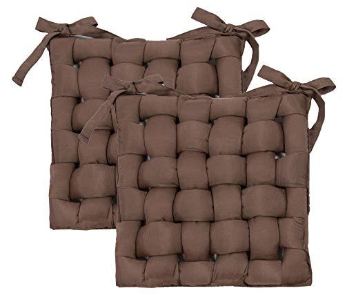 ZOLLNER 2er Set Stuhlkissen mit Bänder, 40x40 cm, braun (weitere verfügbar)