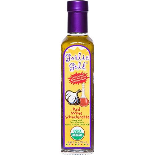 GARLIC GOLD Certified Organic Extra Virgin Olive Oil Based Dressing and Marinade, Red Wine Vinaigrette, Low FODMAP, Paleo Keto Friendly, soy free, sugar free (8.4 oz)