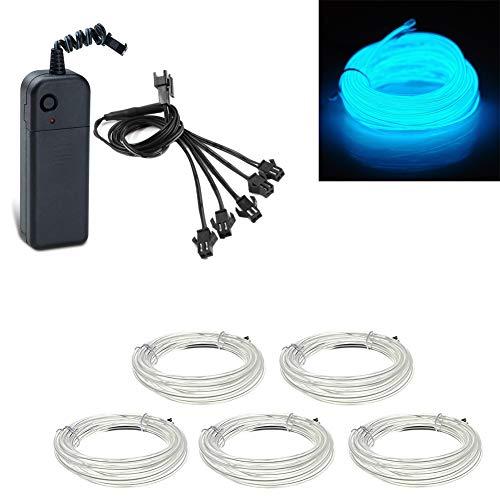5x1 meter EL Draht eisblau Neonlicht Röhre Seil Batteriebetriebene Elektrolumineszenzdraht Glowing Strobing Dekoration Licht für Xmas Party Pub (Eisblau)