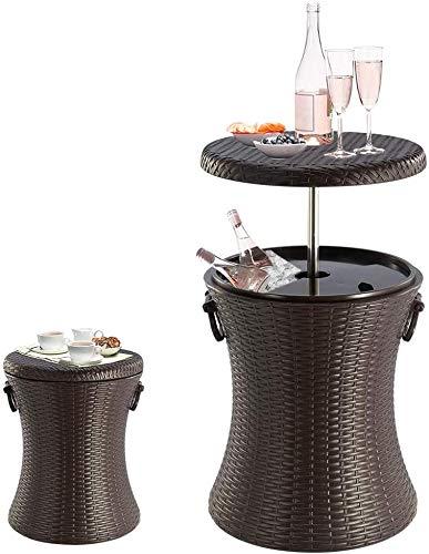 ZXL Cocktailtische, Eiskühltisch im Rattan-Stil im Freien, Gartenmöbel im Café im Freien, Eiskübel, für Bier/Cocktails/Weine/Getränke/Milch