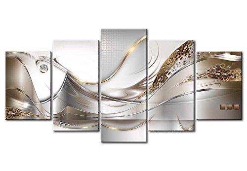 Bilder 200×100 cm – 3 Farben zur Auswahl ! XXL Format! Fertig Aufgespannt TOP Vlies Leinwand – 5 Teilig – Abstrakt Blumen Wand Bild Bilder Kunstdrucke Wandbild a-A-0004-b-o 200×100 cm B&D XXL - 3