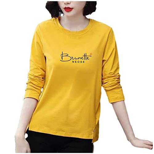 Janly Clearance Sale Blusa de manga larga para mujer, informal, de manga larga, con estampado de cuello redondo, para mujer, tallas grandes, para regalo del día de San Patricio (amarillo-5XL)