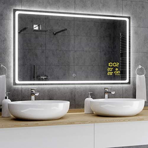 Alasta® Premium Badkamerspiegel met LED-Verlichting - 80x100 cm - Model Houston - Spiegel met Aanraaklichtschakelaar en Weerstation P1