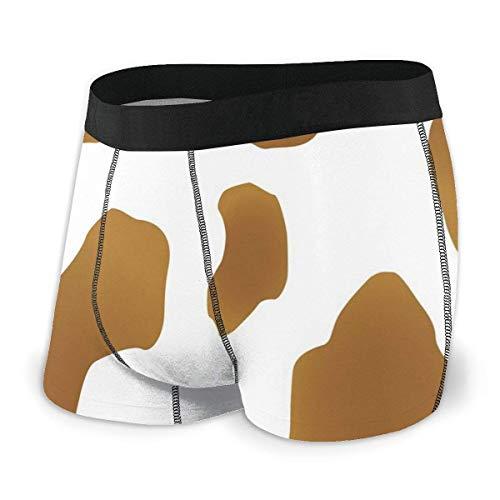 Web--ster Herren Boxer Slips, braune Flecken auf Einer weißen Kuhhaut Abstrakte Kunst Rinderfell Nutztiere Cowboy Scheune Größe XL