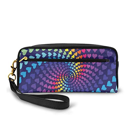 Pencil Case Pen Bag Pouch Stationary,Whirlpool Of Little Hearts In Rainbow Colors Retro Style Psychedelic Love Romance,Small Makeup Bag Coin Purse