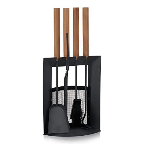 SULENO Kaminbesteck LIVERPOOL 5-teilig Kamingarnitur mit Ascheschaufel Besen Schürhaken, Kaminset & Halter, Ofenbesteck anthrazit mit Holzgriff