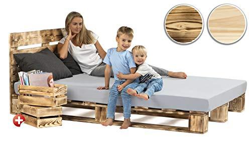 sunnypillow Palettenbett mit Kopfteil 140 x 200 cm Holzbett Bett aus Paletten Palettenmöbel Geflammt Vintage + 2 Holzkisten gratis