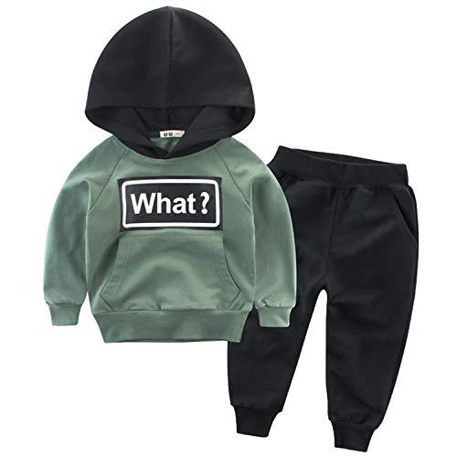 Snyemio Niño Otoño Invierno Ropa Conjuntos Sudaderas + Pantalones Bebé Manga Larga Suéter Capucha Tops (Verde, 90cm/1-2 Años)