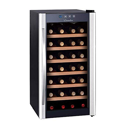 La Sommelière LS28KB Independiente de vino Negro, Plata, Negro, Plata, Negro, Plata, Negro, 6 estantes, 1 puerta, Madera)