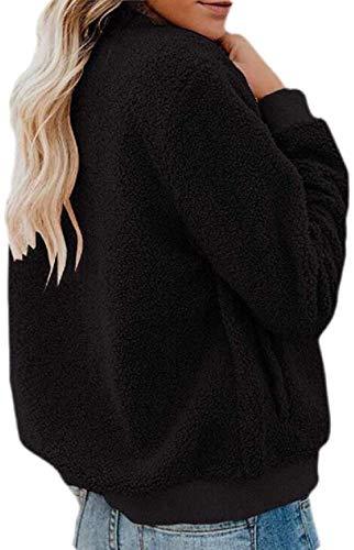 CHEXPEL Women's Fleece Coat Fuzzy Outerwear Zip Up Bomber Jacket