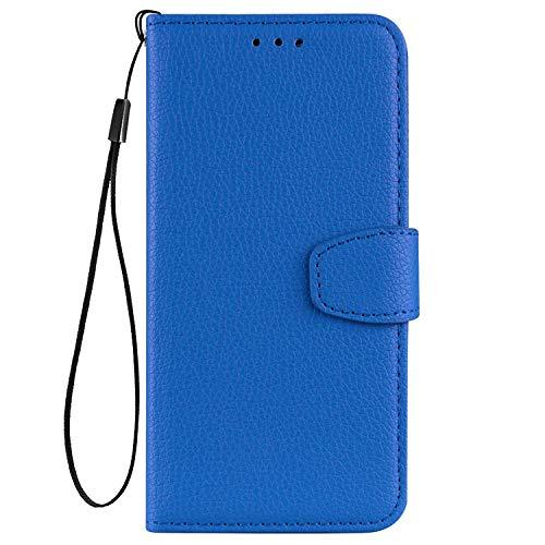 vingarshern Hülle für ZTE Blade A512 Schutzhülle Tasche Klappbares Magnetverschluss Flip Hülle Lederhülle Handytasche ZTE Blade A512 Hülle Leder Etui Brieftasche(Blau) MEHRWEG