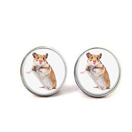 Hamster-Ohrringe, ein kleines pelziges Tier, ähnlich wie bei einer Maus Glas-Fotoohrringen.
