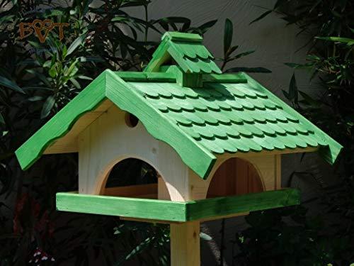Vogelhaus,groß,mit Ständer,BTV-X-VONI5-LOTUS-LEFA-MS-gras001 Schönes MASSIVES GANZJAHRES PREMIUM Vogelhaus mit wasserabweisender LOTUS-BESCHICHTUNG + NISTKASTEN IN EINEM (VOLL FUNKTIONSFÄHIG mit Reinigungsvorrichtung) !!! KOMPLETT mit Ständer !!! wetterfest lasiert, wetterfestes Vogelfutterhaus MIT FUTTERSCHACHT-Futtersilo Futterstation Farbe grasgrün grün PURE GREEN kräftig tannengrün/natur, MIT TIEFEM WETTERSCHUTZ-DACH für trockenes Futter, 100% Massivholz - 2