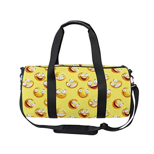 MNSRUU Sporttasche mit Emoji-Gesicht, groß, für Reisen, Unisex, hohe Kapazität, großes Gepäck, Sporttasche