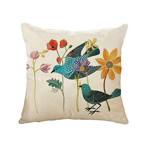 Cojín Tiro Cubierta Birds Flowers Square Almohadilla De La Caja Inicio Decoración...