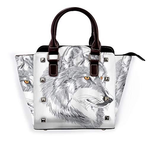 BROWCIN Tattoo handgemachte Skizze Porträt des sibirischen Wolfs Wildtier Legende Husky Artwork Abnehmbare mode trend damen handtasche umhängetasche umhängetasche