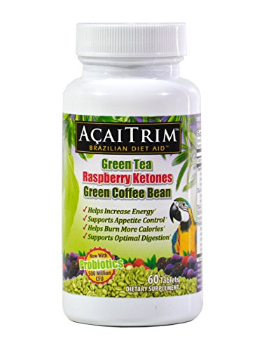 AcaiTrim- Weight Loss Supplement- Green Tea Extract, Green Coffee Bean Extract, Raspberry Ketones, Acai, & Probiotics - Supports Metabolism & Energy For Men & Women- 60 Capsules
