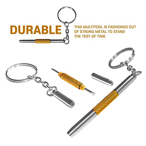 Eyeglass Repair Screwdriver Kit Keychain-2PCS 3 in 1 Colorful Mini Precision Screwdriver with Keychain-Eyeglass, Sunglass, Watch, Jewelry, Electronics, Toy Repair Kit (Red)