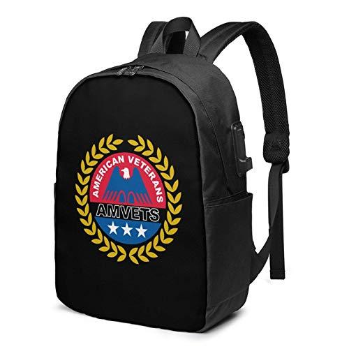 Lawenp American Veterans Amvets USA Mochila para portátil con Puerto de Carga USB, Bolsa de Negocios, Mochila | Se Adapta a la mayoría de portátiles y tabletas de 17 Pulgadas