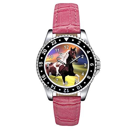 Timest - Caballo Paint Horse - Reloj para Mujer con Correa de Cuero Rosa Analógico Cuarzo SE1244LP