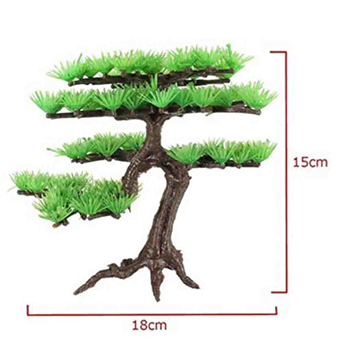 Absir Artificial Water Plant Pine Tree Bonsai Fish Bowl Landscape Aquarium Accessories Straight pine tree