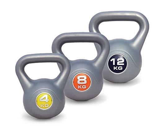 UK Fitness Juego de Pesas Rusas de 4kg-8kg-12kg Vinilo Pesas Rusas de Vinilo Set- Conjunto de 3Kettelbells: Pesa Rusa Libre (Work out DVD