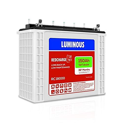 LUMINOUS RedCharge RC 18000 150AH Tall Tubular Plate Inverter Battery for Home, Office & Shops