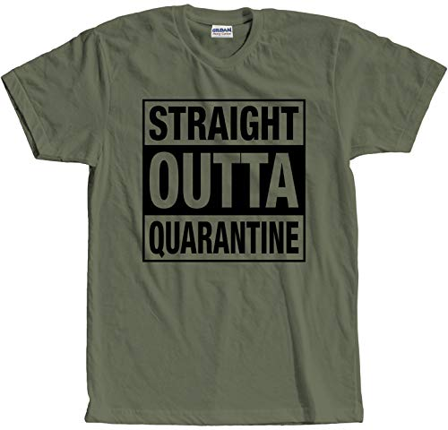 Graphic Novelty Social Distancing Straight Outta Quarantine T-Shirt S Military Green