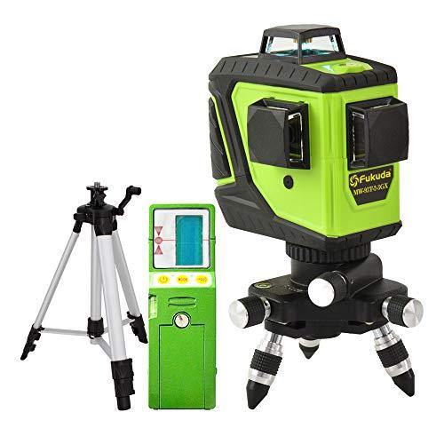 Fukuda 360° フルライングリーンレーザー墨出し器セット 12ライン 360°垂直*2・360°水平*1 MW-93T-2-3GJ レーザー墨出し器 レーザーレベル 水平器【本体+受光器+エレベーター三脚セット】