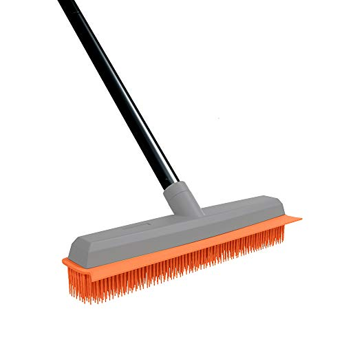 Rubber Broom Carpet Rake Pet Hair Remover Broom with Squeegee 50 Inch Long Handle Push Broom for Carpet Hardwood Floor Tile Windows Cleaning
