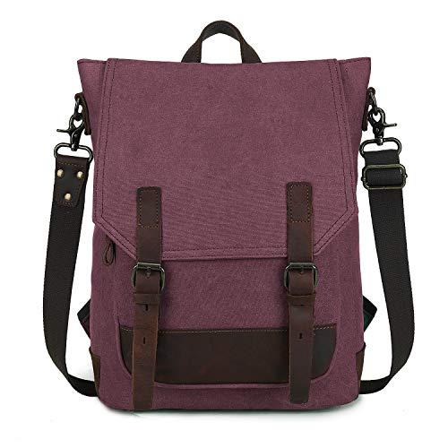 Wind Took Canvas Rucksack Schultertasche Daypack Umhängetasche Messenger Bag Handtasche für Uni Alltag Job 14 Zoll Multifunktional Retro, Rot, 28 x 11 x 40 cm