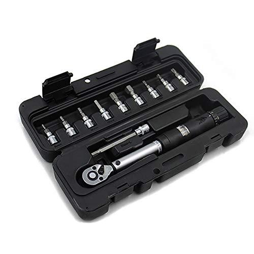 POFET Juego de llaves dinamométricas para bicicleta 1/4' DR 2-14Nm Kit de herramientas de reparación de carraca mecánica, llaves manuales