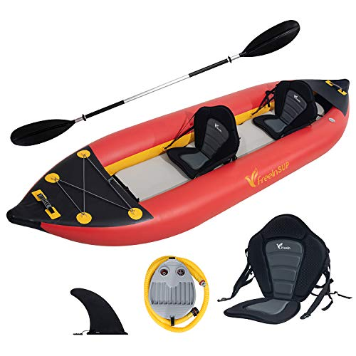Freein Kayak Emergency Boat  1-2 Person Professional Series Lightweight Inflatable Kayak Sit-in Kayak Set with Paddle   Seat   Fin   High Output Air Pump   Carry Bag 10'6'&12'6'