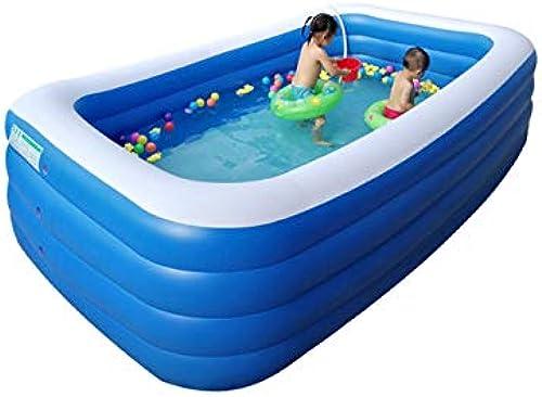 YUHAO(de) Riesiger Aufblasbarer Kinderpool - Familie Und Kinder Inflatierbarer Rechteckiger Pool(388x200x68cm)